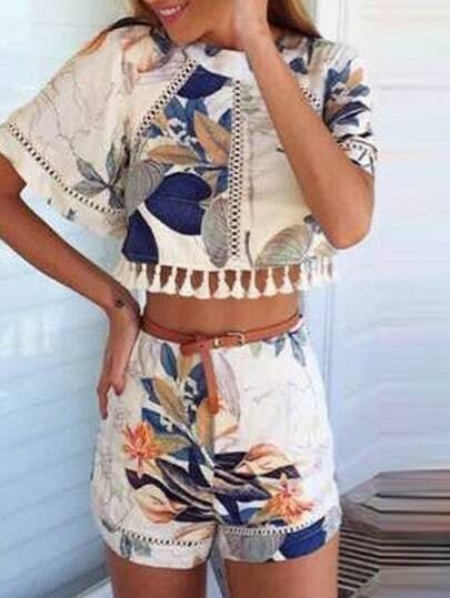 Multicolor Floral Tassel Crop Top With Shorts pictures
