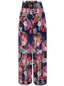 Blue Floral Wide Leg Chiffon Pant