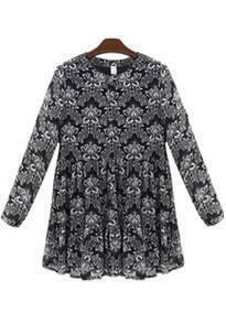 Black Long Sleeve Floral Loose Dress