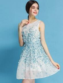 Blue Sleeveless Applique Embroidered Chiffon Dress