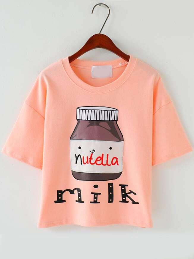 Pink Short Sleeve Milk Print T-Shirt