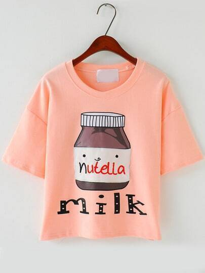 Pink Short Sleeve Milk Print T-Shirt