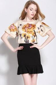 Beige Bell Sleeve Floral Crop Top With Black Skirt