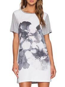 White Grey Short Sleeve Floral Print Dress