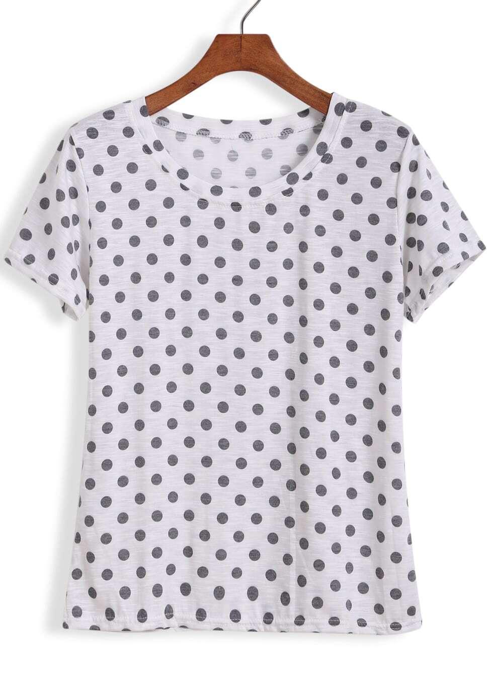 White Short Sleeve Polka Dot T Shirt Shein Sheinside