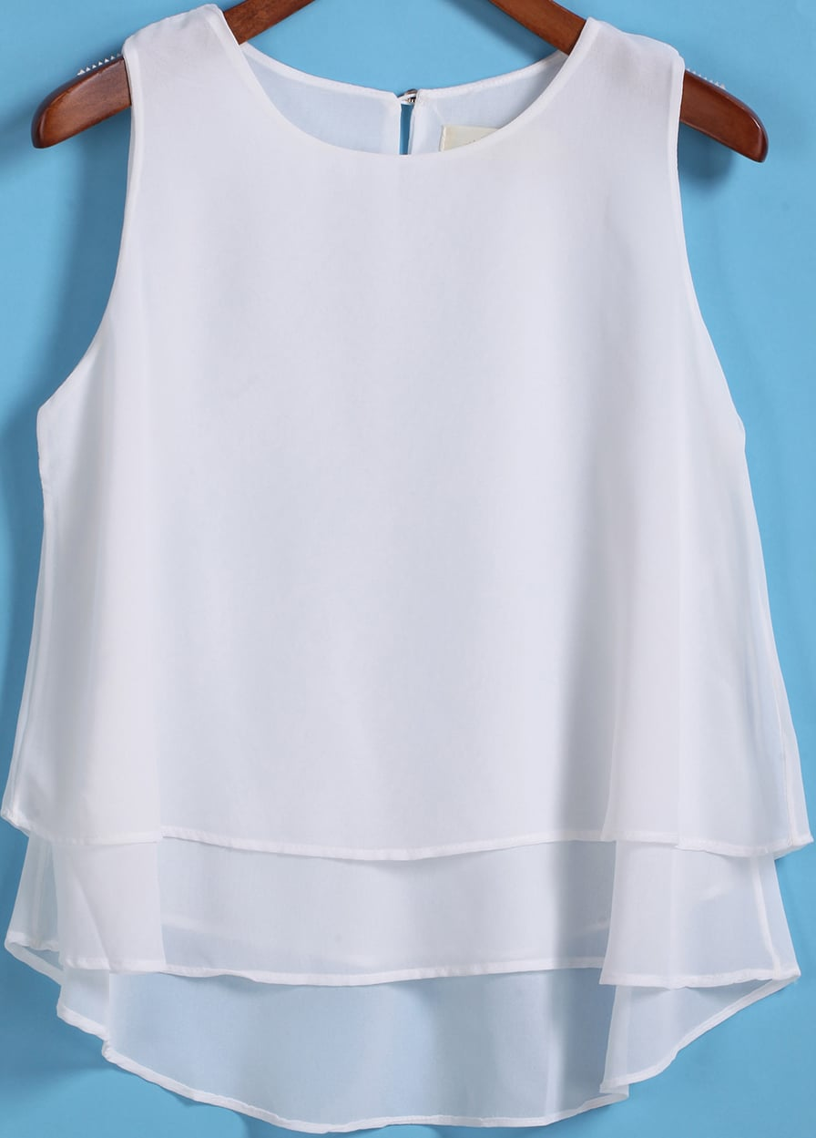 White Round Neck Loose Dip Hem Chiffon Tank Top