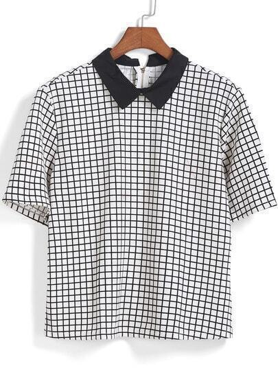 Black White Short Sleeve Plaid Blouse
