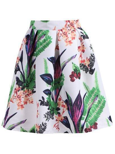 White Leaves Print Flare Skirt