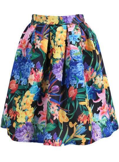 Multicolor Floral Flare Skirt
