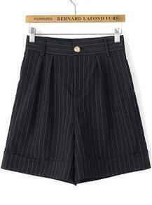 Black High Waist Vertical Stripe Shorts