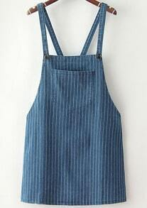 Blue Strap Vertical Stripe Denim Dress
