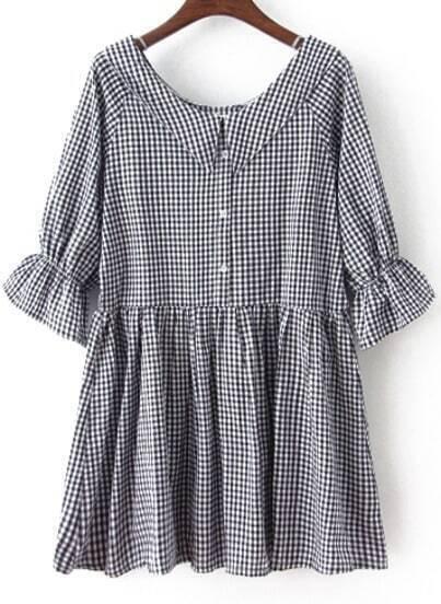 Black Bow Collar Plaid Loose Dress