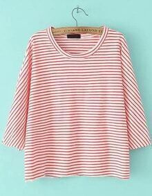 Red Long Sleeve Striped Loose T-Shirt