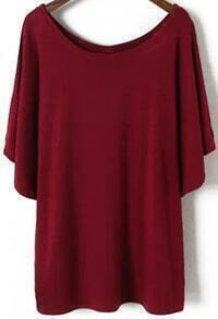 Red Batwing Short Sleeve Loose Modal T-Shirt