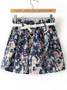 Navy Elastic Waist Floral Skirt