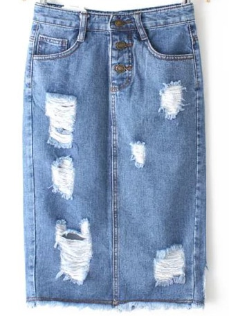Blue High Waist Ripped Denim Skirt
