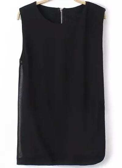 Black Sleeveless Split Chiffon Blouse