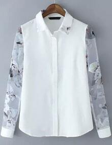 White Sheer Organza Ikat Neat Awesome Long Sleeve Floral Blouse