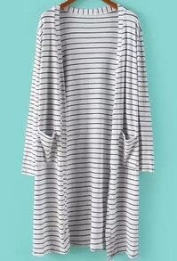 White Long Sleeve Striped Pockets Cardigan