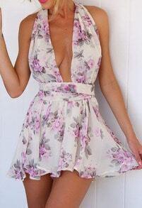 White Halter Deep V Neck Floral Chiffon Jumpsuit