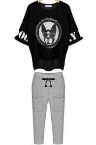 Black Batwing Dog Print Loose Top With Grey Pant