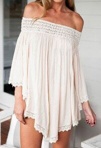 Apricot Off the Shoulder Loose Dress