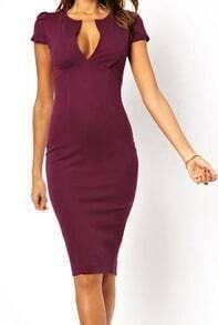 Wine Red Deep V Neck Slim Split Dress