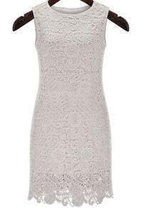 White Sleeveless Hollow Slim Lace Dress
