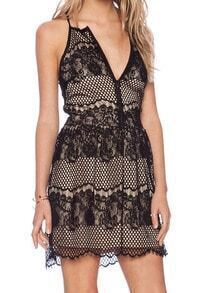 Black Spaghetti Strap Hollow Grid Lace Dress