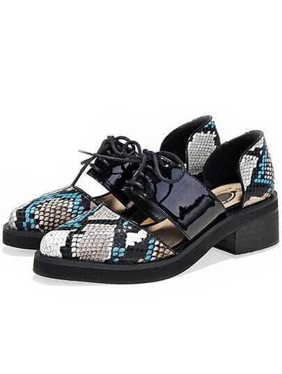 Black Lace Up Snakeskin Mid Heeled Sandals