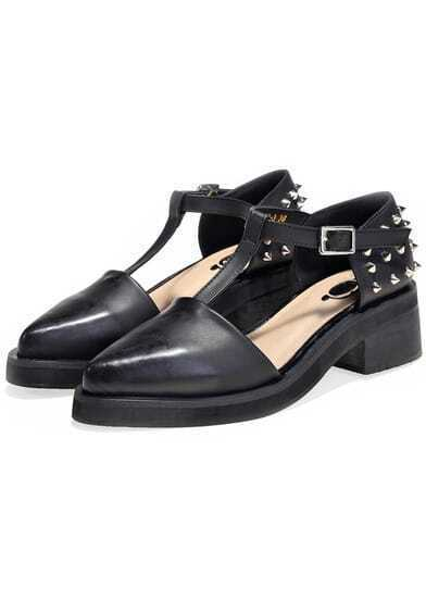 Black With Rivet T Strap Mid Heeled Sandals