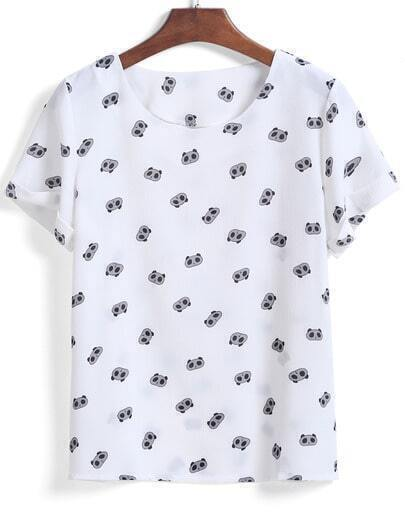 White Short Sleeve Panda Print T-Shirt