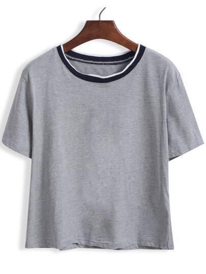 Grey Short Sleeve Contrast Collar Crop T-Shirt