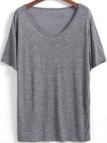 Grey V Neck Short Sleeve Loose T-Shirt