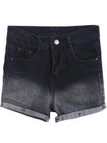 Black Ombre Flange Denim Shorts