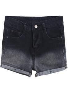 Black Ombre Flange Denim Shorts