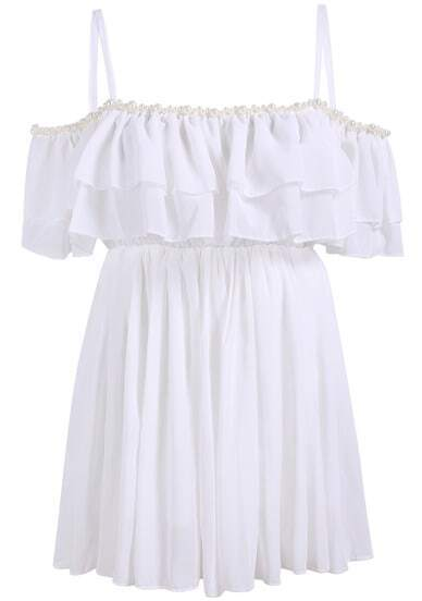 White Off the Shoulder Bead Chiffon Blouse