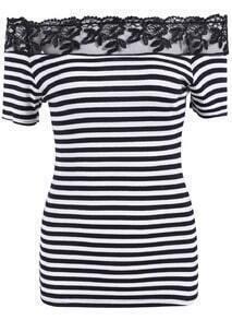 Black White Boat Neck Lace Striped Top