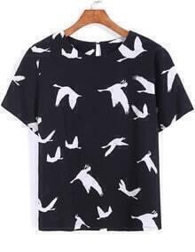Black Short Sleeve Birds Print Chiffon Blouse