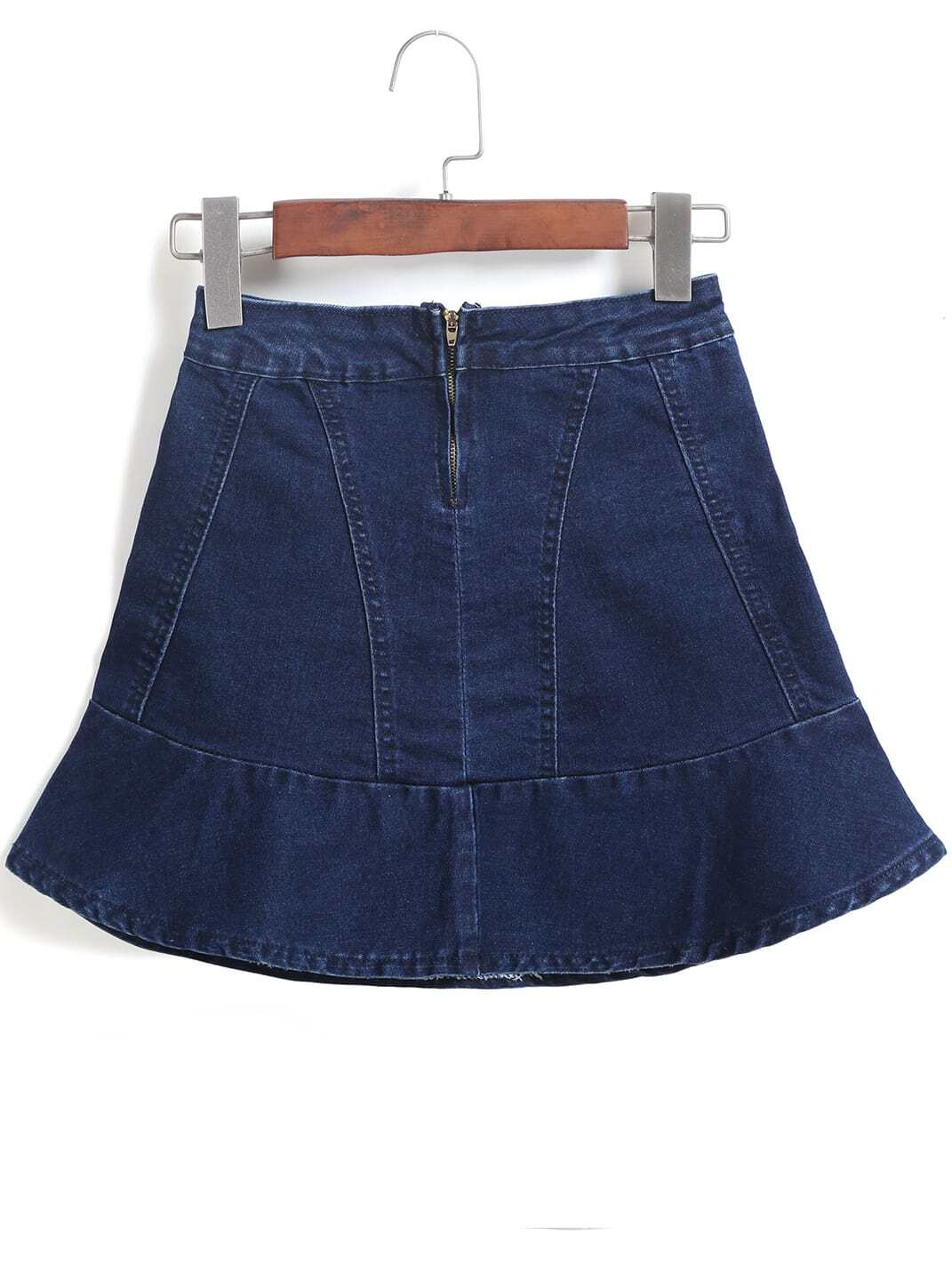navy zipper ruffle denim skirt shein sheinside