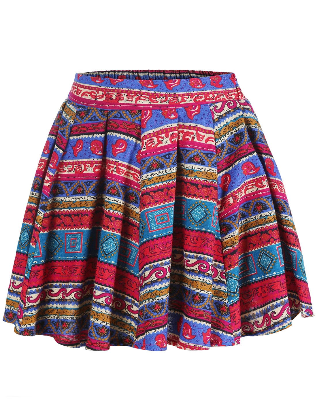 Red Blue Tribal Print Pleated Skirt -SheIn(Sheinside)