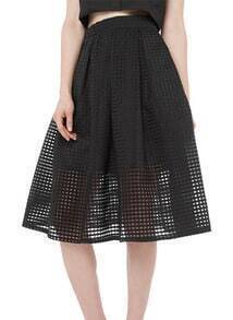 Black With Gauze Flare Skirt