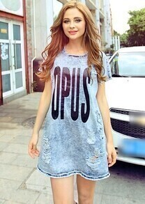 Blue OPUS Print Ripped Denim Loose Dress