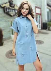 Blue Lapel Cut-out Loose Denim Shirt Dress