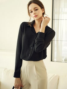 Black Lapel Long Sleeve Chiffon Blouse