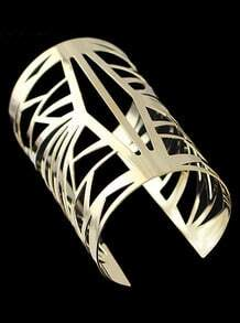 Gold Geometric Hollow Cuff Bracelet