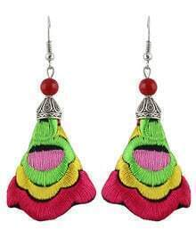Red Embroidered With Bead Silver Dangle Earrings