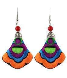 Orange Embroidered With Bead Dangle Earrings