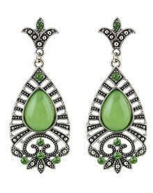 Green Drop Gemstone Silver Dangle Earrings