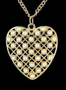 Gold With Pearl Heart Necklace